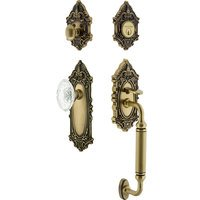 Nostalgic Warehouse - Victorian - Victorian Plate With C Grip And Crystal Victorian Knob in Antique Brass