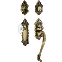 Nostalgic Warehouse - Victorian - Victorian Plate With S Grip And Crystal Victorian Knob in Antique Brass