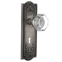 Nostalgic Warehouse - Meadows - Complete Privacy Set with Keyhole - Meadows Plate with Waldorf Door Knob in Timeless Bronze