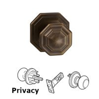 Omnia Industries - Door Knobs - Privacy Traditions Octagon Knob with Octagon Rosette in Antique Bronze Unlacquered
