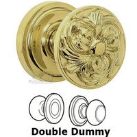 Omnia Industries - Door Knobs - Double Dummy Set Ornate Flower Knob with Radial Rosette in Max Brass
