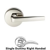 Omnia Industries - Door Levers - Single Dummy Chicago Right Handed Lever with Plain Rosette in Polished Nickel