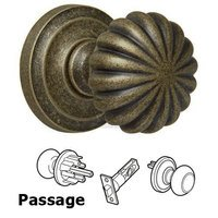 "Omnia Industries - Door Knobs - Passage Latchset Classic 2 3/8"" Melon Knob with Radial Rosette in Vintage Brass"