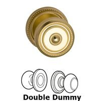 Omnia Industries - Door Knobs - Double Dummy Set Classic Beaded Knob with Beaded Rosette in Polished and Laquered Brass