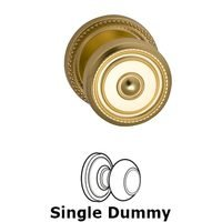 Omnia Industries - Door Knobs - Single Dummy Classic Beaded Knob with Beaded Rosette in Polished Brass Lacquered