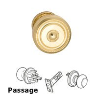 Omnia Industries - Door Knobs - Passage Traditions Beaded Door Knob with Small Beaded Rosette in Polished and Lacquered Brass