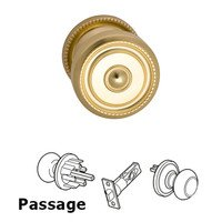 Omnia Industries - Door Knobs - Passage Traditions Beaded Door Knob with Medium Beaded Rosette in Polished and Lacquered Brass