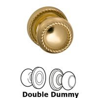 Omnia Industries - Door Knobs - Double Dummy Set Classic Rope Knob with Rope Rosette in Polished and Laquered Brass