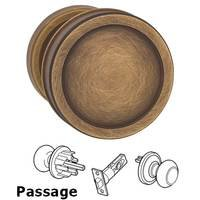 Omnia Industries - Arc Knobs - Passage Edged Knob and Small Edged Rose in Antique Brass Lacquered