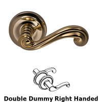 Omnia Industries - Door Levers - Double Dummy Traditions Right Handed Lever with Radial Rosette in Unlacquered Brass