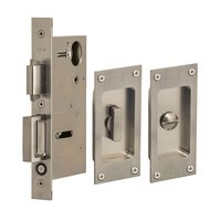 Omnia Industries - Pocket Door Hardware - Small Modern Rectangle Privacy Pocket Door Mortise Lock with Exposed Screws in Satin Stainless Steel