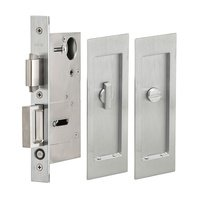 Omnia Industries - Pocket Door Hardware - Large Modern Rectangle Privacy Pocket Door Mortise Lock in Satin Chrome