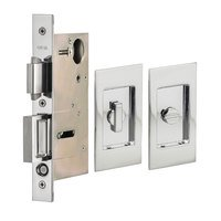 Omnia Industries - Pocket Door Hardware - Small Modern Rectangle Privacy Pocket Door Mortise Lock in Polished Chrome