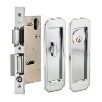 Omnia Industries - Pocket Door Hardware - Large Traditional Rectangle Keyed Pocket Door Mortise Lock in Polished Chrome