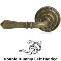 Omnia Industries - Door Levers - Double Dummy Orlean Left Handed Lever with Radial Rosette in Vintage Brass