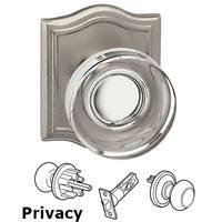 Omnia Industries - Prodigy - Privacy Puck Glass Knob With Arched Rose in Satin Nickel Lacquered