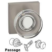 Omnia Industries - Prodigy - Passage Puck Glass Knob With Square Rose in Satin Nickel Lacquered