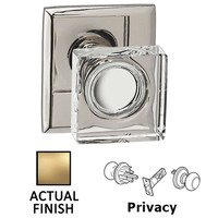 Omnia Industries - Prodigy - Privacy Square Glass Knob With Rectangular Rose in Satin Brass