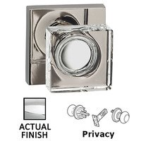 Omnia Industries - Prodigy - Privacy Square Glass Knob With Square Rose in Polished Chrome