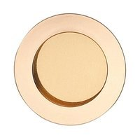 "Omnia Industries - Flush Pulls - 2 3/8"" (60mm) Round Modern Recessed Pull in Polished and Lacquered Brass"