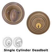 Omnia Industries - Prodigy Auxiliary Deadbolts - Colonial Single Cylinder Deadbolt in Shaded Bronze