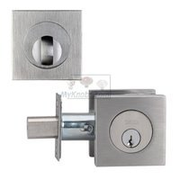 Omnia Industries - Exterior Door - Single Square Deadbolt in Brushed Stainless Steel