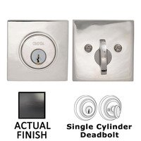Omnia Industries - Prodigy Auxiliary Deadbolts - Square Single Cylinder Deadbolt in Tuscan Bronze