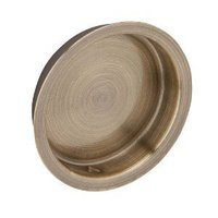 Schlage Door Hardware - Ives Cabinet Accessories - Solid Brass Recessed Pull in Antique Brass