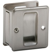 Schlage Door Hardware - Ives Pocket Door Hardware - Solid Brass Passage Pocket Door Lock in Satin Nickel