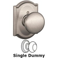 Schlage Door Hardware - Camelot - F170 Series - Single Dummy Plymouth Door Knob with Camelot Rose in Satin Nickel