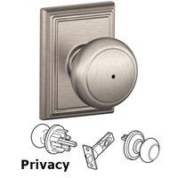 Schlage Door Hardware - Addison - F40 Series - Privacy Andover Door Knob with Addison Rose in Satin Nickel