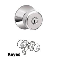 Schlage Door Hardware - Bowery - F Series - Bowery Keyed Door Knob in Bright Chrome