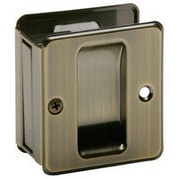 Schlage Door Hardware - Ives Pocket Door Hardware - Passage Pocket Door Lock in Antique Brass