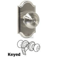 Weslock Door Hardware - Elegance Impresa Knobs - Keyed Knob - Premiere Plate with Impresa Door Knob in Satin Nickel