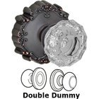 Crystal Door Knobs by Fusion Hardware - Double Dummy Scalloped Clear Glass Knob with Victorian Rose in Oil Rubbed Bronze