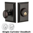 Grandeur Single Cylinder Deadbolt with Fifth Avenue Plate in Timeless Bronze