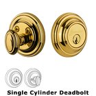 Grandeur Single Cylinder Deadbolt with Georgetown Plate in Lifetime Brass