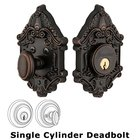 Grandeur Single Cylinder Deadbolt with Grande Victorian Plate in Timeless Bronze