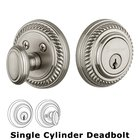 Grandeur Single Cylinder Deadbolt with Newport Plate in Satin Nickel
