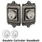 Grandeur Double Cylinder Deadbolt with Windsor Plate in Antique Pewter