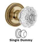 Grandeur Door - Single Dummy Knob - Newport Rosette with Fontainebleau Crystal Door Knob in Vintage Brass