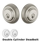 Grandeur Double Cylinder Deadbolt with Newport Plate in Satin Nickel