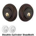 Grandeur Double Cylinder Deadbolt with Newport Plate in Timeless Bronze