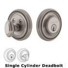 Grandeur Single Cylinder Deadbolt with Soleil Plate in Satin Nickel