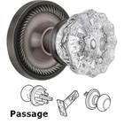 Nostalgic Warehouse - Passage Knob - Rope Rose with Crystal Door Knob in Antique Pewter