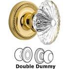 Nostalgic Warehouse - Double Dummy - Rope Rose with Oval Fluted Crystal Knob in Polished Brass