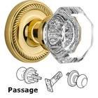 Nostalgic Warehouse - Passage Knob - Rope Rosette with Waldorf Knob in Unlacquered Brass
